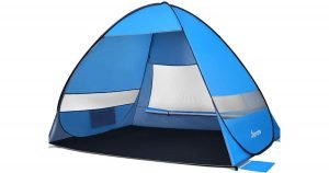 Blue pop-up beach tent on a white background.
