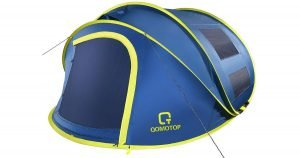A blue and green 4 person waterproof tent on a white background.