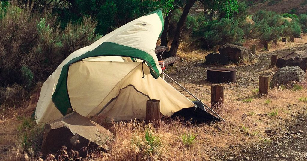 Tent knocked sown by wind
