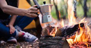Espresso maker over a camp fire