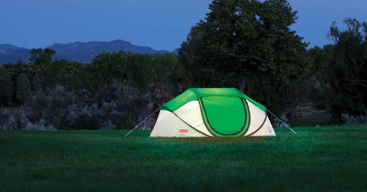 Coleman pop-up tent outdoors