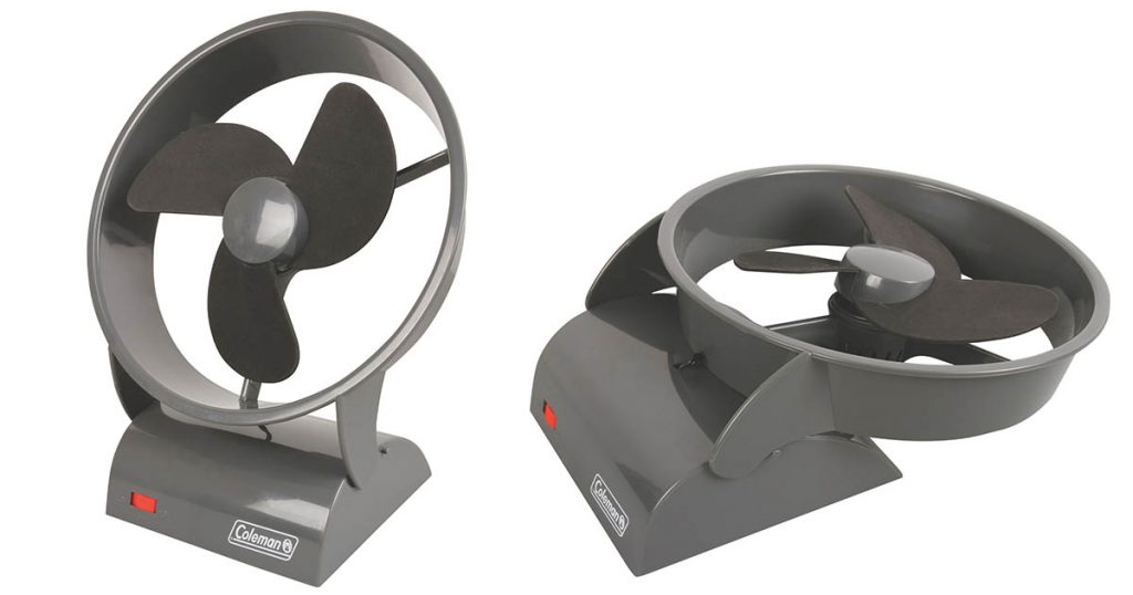 The Coleman free standing tent fan is perfect for summer trips.