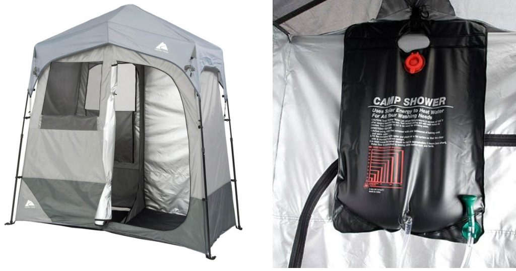 Ozark Trail Tent Style 2-Room Shower and Changing Shelter for Glamping