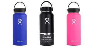 Blue, black, and pink Hydro Flask 32 oz, Stainless Steel, Water Bottle