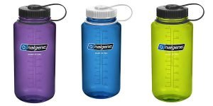 Purple, Green, and Blue Nalgene Tritan 32oz Wide Mouth BPA-Free Water Bottle