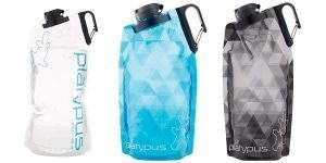 Blue, Grey, and White Patterned, Platypus DuoLock SoftBottle Collapsible Water Bottle