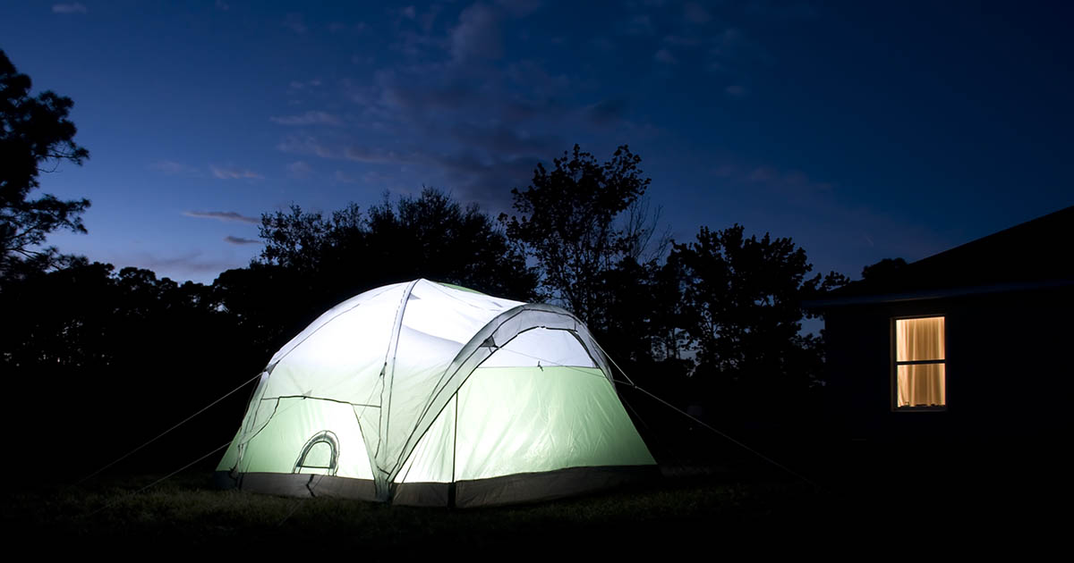 Backyard camping is a great way to entertain kids when you can't get to the mountains.