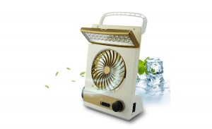 The gold and eggshell BicycleStore 3 in 1 Multi-function Portable Mini Fan LED Table Lamp solar lantern.