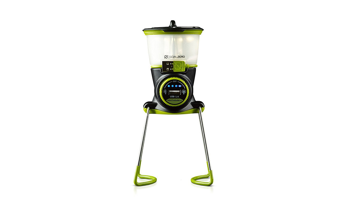 The Goal Zero Lighthouse Mini Lantern, green solar lamp.