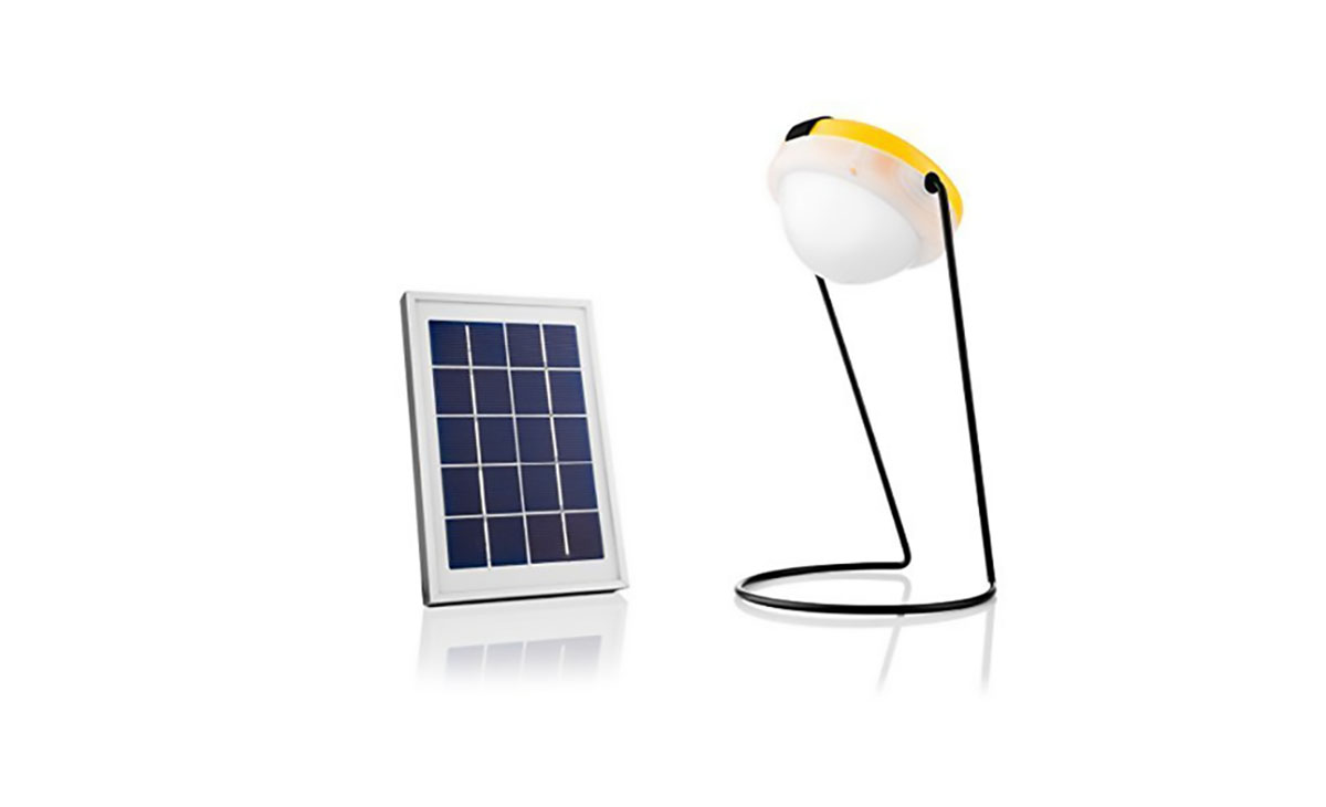 The topped, Greenlight Planet Sun King Pro USB solar light.