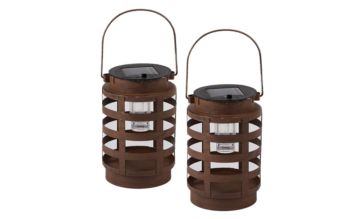 The Clever Creations Premium Solar Powered LED Lantern with wood grain stainless steel design.