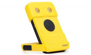The yellow WakaWaka Solar Power+ Powerbank and light.