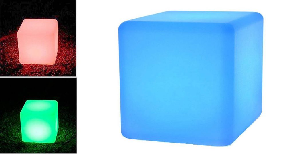 This portable LED cube light is perfect for camping.