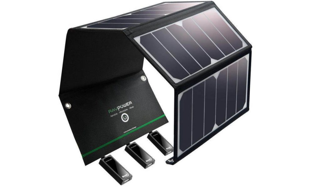 The powerful 24w RavPoer solar panel charger is powerful and portable.