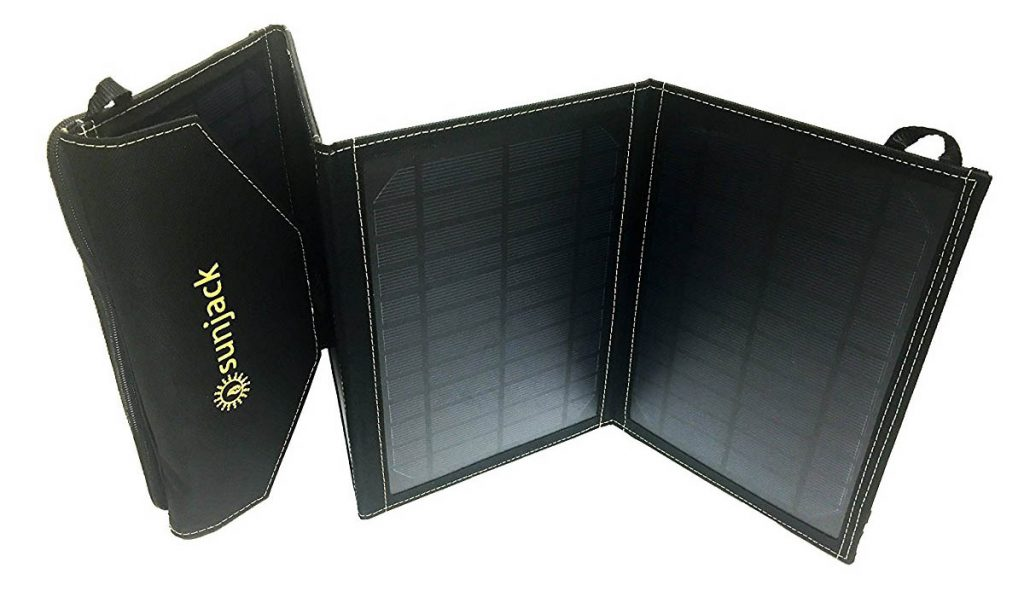 The Sunjack is a two panel folding mobile solar charger.