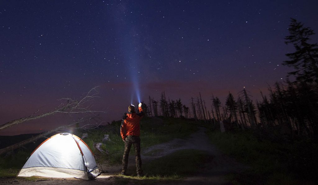 FLashlights are fun and practical when sleeping outdoors.