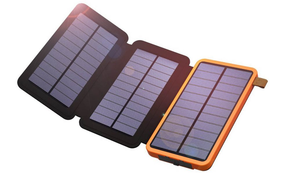 The 10000mah xdragon solar charger is perfect for biking, camping or hiking.