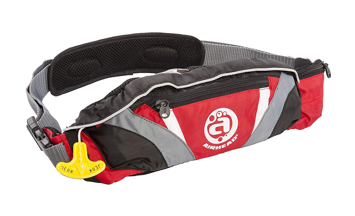 Th red Airhead Inflatable belt pack life preserver.