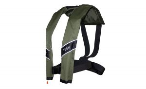 The Eyson Slim Inflatable PFD life vest in olive green.