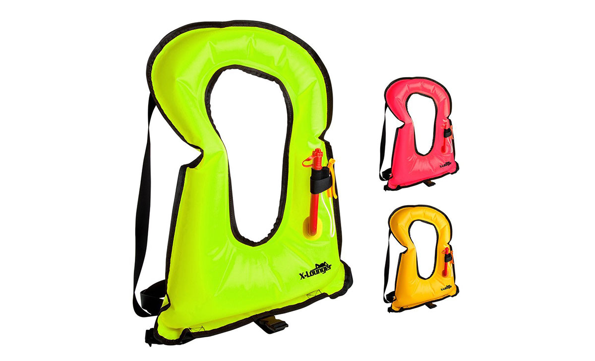The X-Lounger Inflatable Life Jacket Snorkel Vest in green, red, and yellow.