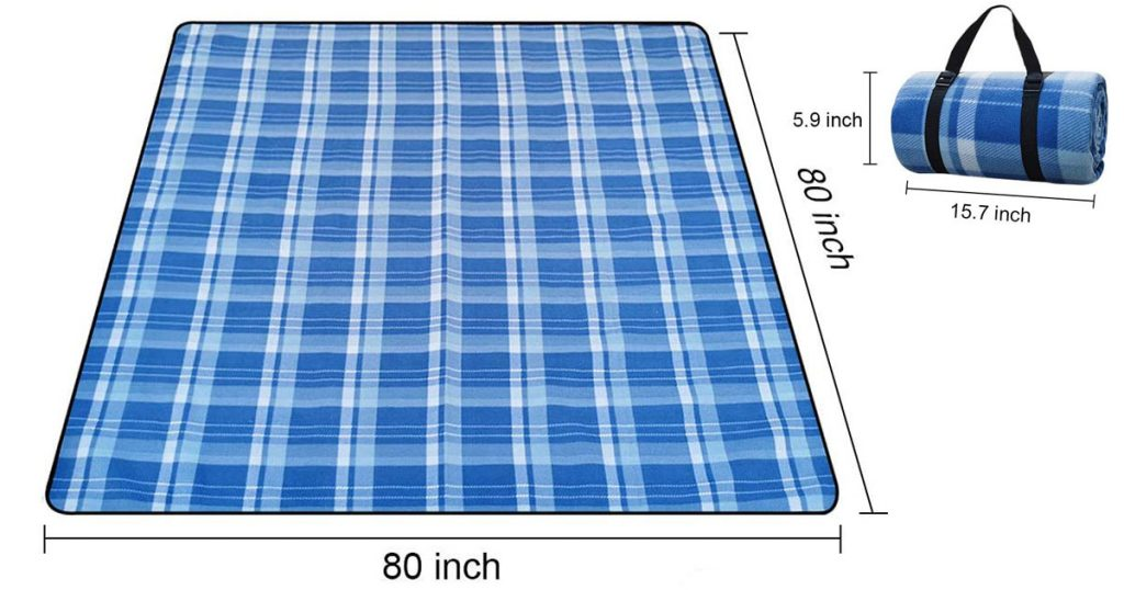 A blue checkered waterproof picnic blanket on a white background.