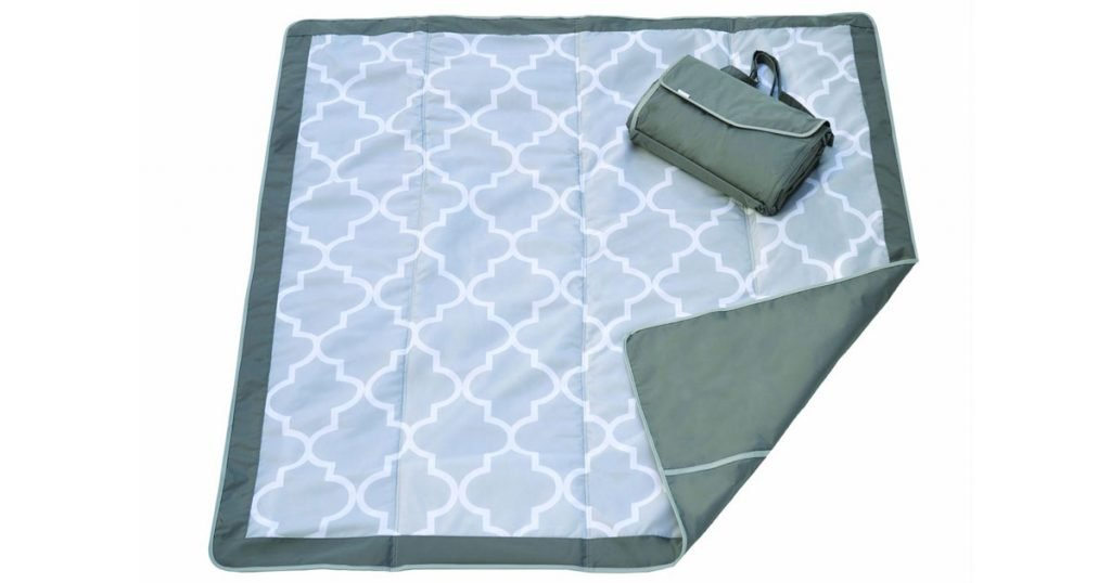 A gray and blue picnic and beach blanket on a white background.
