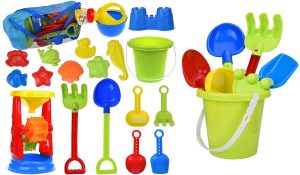 This classic beach toy set has everything you need for sand castle building.