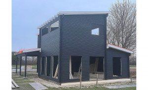 The Allwood Eagle Vista, Gand Villa blue cabin prefabrication.