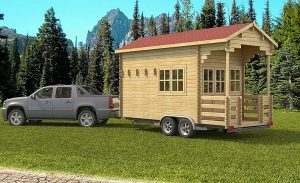 The Allwood Pioneer prefabricated cabin on a trailer.