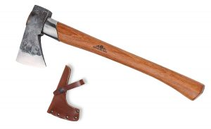 Wooden-handled Gransfors Bruks axe with leather sheath.
