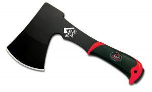 The black and red Outdoor Edge Wood Devil hatchet.