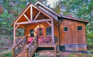 Goshen Timber Frame cabin with porch.