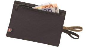 Black Lewis N. Clark RFID-Blocking Hidden Clip Stash Travel Belt Wallet with cash.