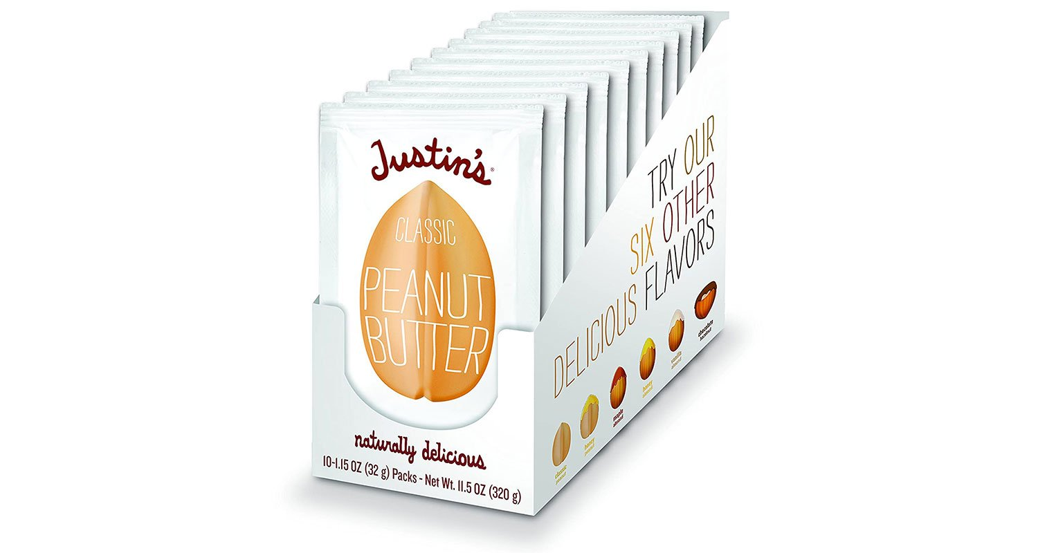 Ten white Justin's Nut Butter packets in white box.