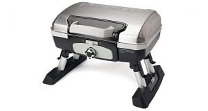Chrome toped Cuisinart CGG-180TS Petit Gourmet Portable Tabletop Gas Grill with foldable legs.