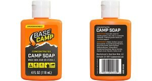 Front and back views of Base Camp Biodegradable Soap by Base Camp