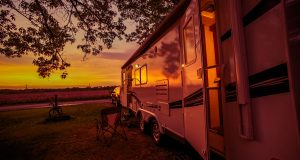Sunset reflected off of an RV