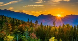 Sunset over mountains in White Mountain National Park
